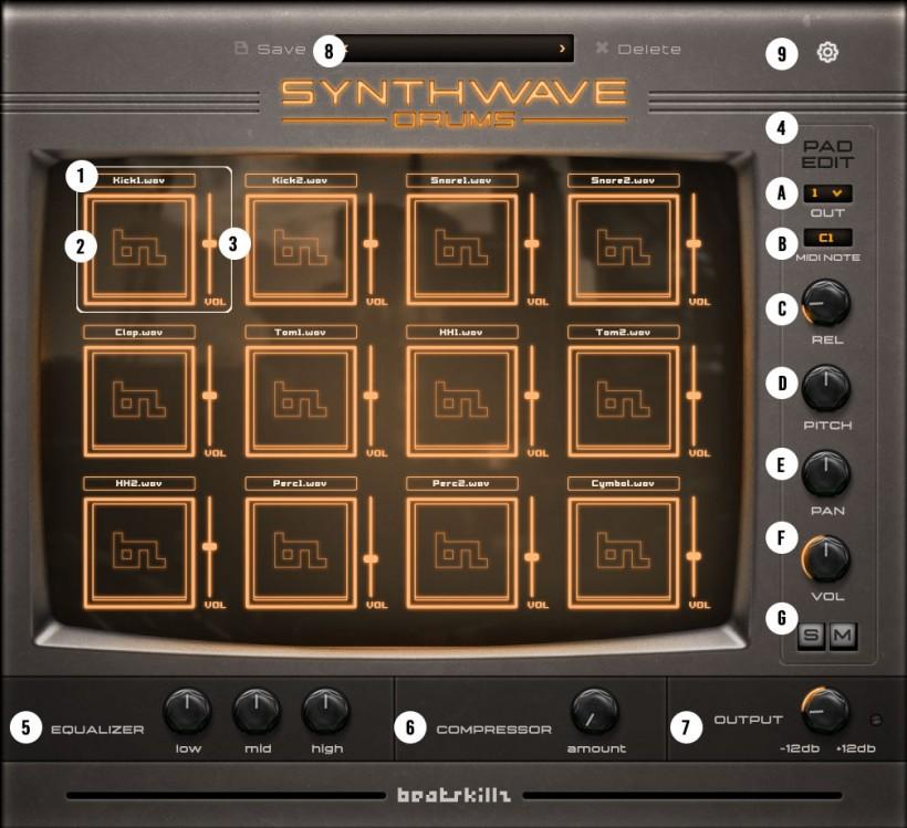 Synthwave Drums 2.0 版打击乐音源插件