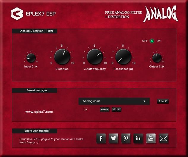 福利:免费模拟滤波器和失真效果器插件 Analog
